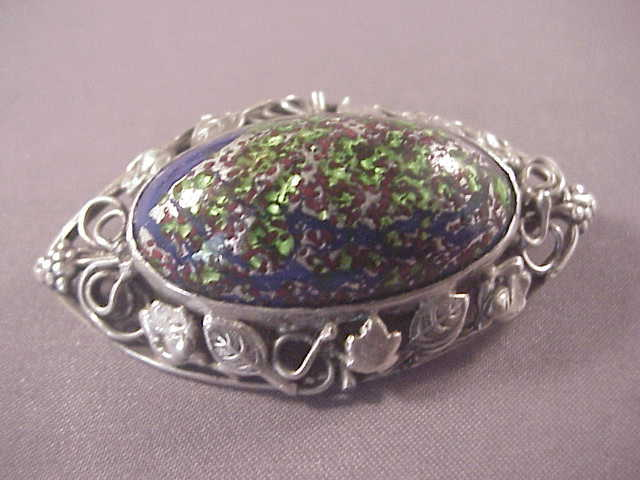 Unusual sterling art glass pin from albie on ruby lane for Naugatuck glass company