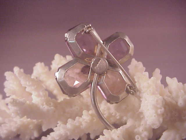Vintage sterling purple glass flower pin from albie on for Naugatuck glass company
