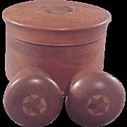 Vintage Mahogany Treen ware RD. Box/Acorn S&P/Inlaid Stars