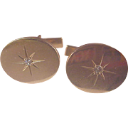 Vintage 14k Oval Cufflinks/Diamonds