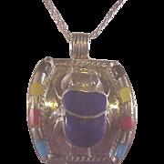 Vintage Egyptian Sterling/Enamel Scarab Beetle/Chain