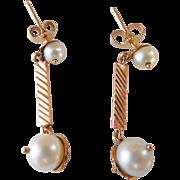 Vintage 14k Pearl Drop Earrings
