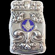 Sterling Art Nouveau Masonic Match Safe/Vesta
