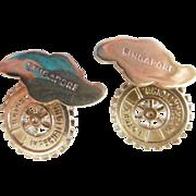 Vintage International Rotary Sterling Cuff Links/Singapore