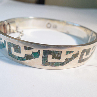 Vintage Mexican Sterling Inlaid Bangle/Miguel Melendez