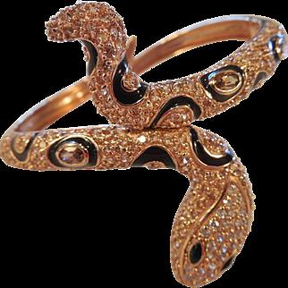 Super Estate Rose Gold Vermeil Snake Cuff/Topaz/Rhinestones