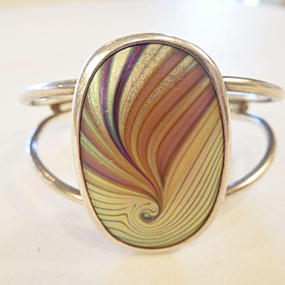 Signed Orient & Flume Sterling Cuff/peacock feather