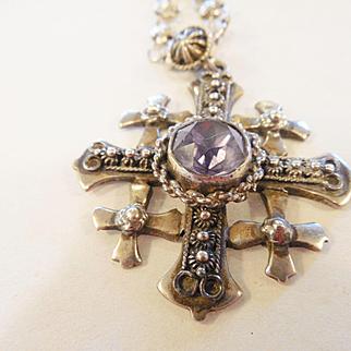Vintage Estate Sterling & Amethyst Jerusalem Cross/Chain