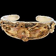Vintage Estate Native American Sterling/Rose Gold Vermeil Cuff Bracelet