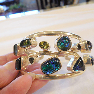 Vintage Estate Sterling and Modernist Dichroic Glass Cuff Bracelet