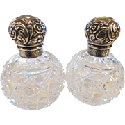 Pair of Vintage Sterling English and  Cut Glass Perfumes/Grinsell
