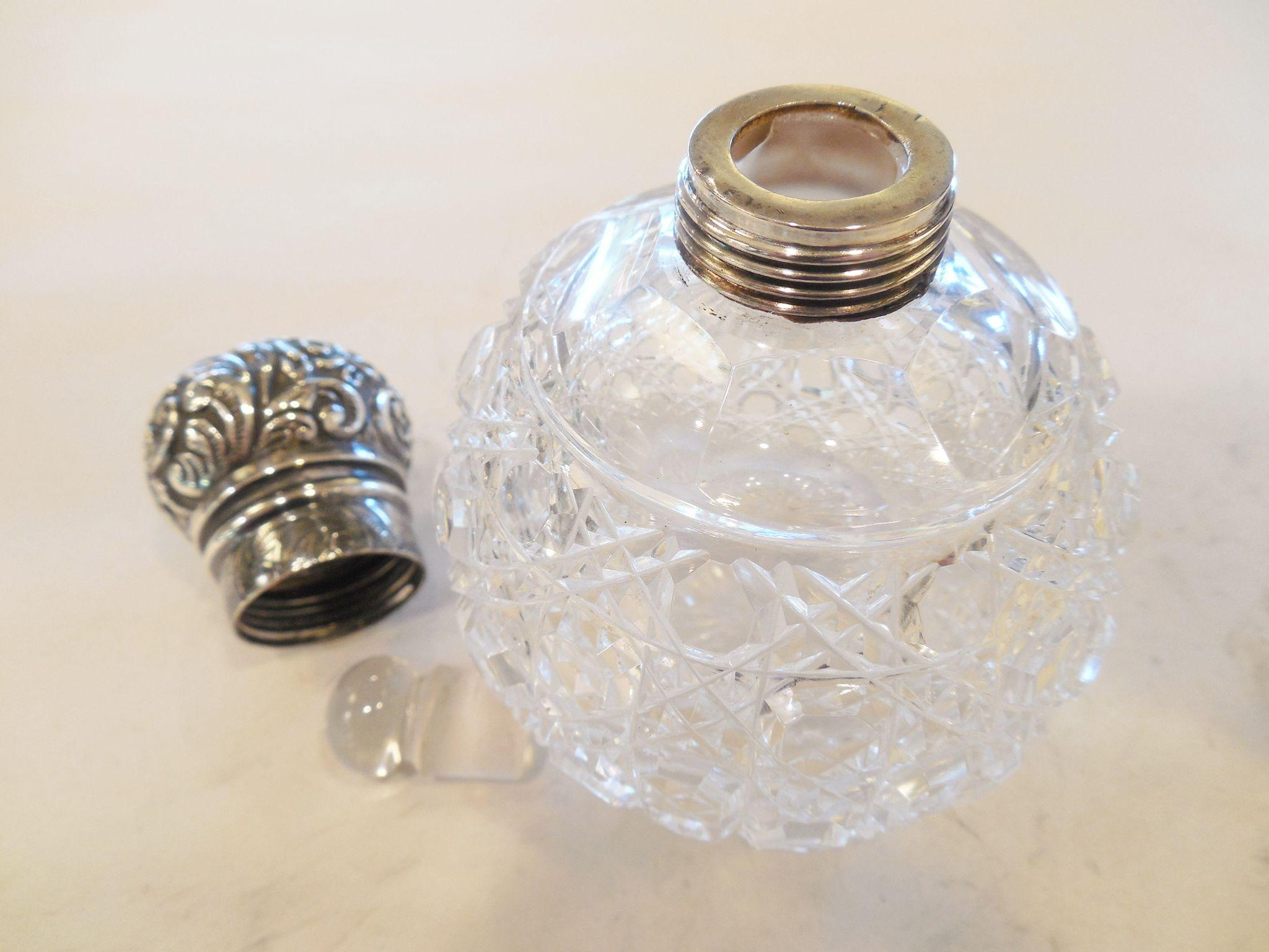Pair of vintage sterling english and cut glass perfumes for Naugatuck glass company