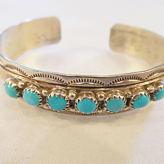 Vintage Estate Navajo Sterling Cuff/Turquoise/E. Yazzie