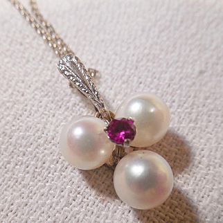 Vintage Estate 14k White Gold Pearl & Ruby Pendant/Chain