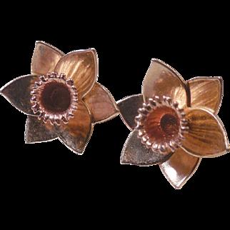 Vintage Estate 10K Rose Gold Daffodil Earrings!