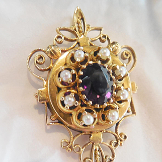 Gorgeous Estate 14k Amethyst/Pearl Brooc/h Pendant