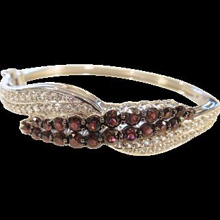Estate Sterling Garnet/White Sapphire Bracelet