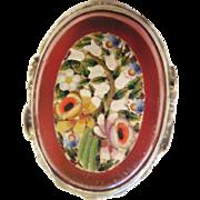 Vintage Estate Sterling Millefiori/Carnelian Ring