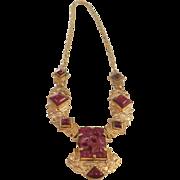 Vintage Czech Brass & Carnelian Glass Necklace