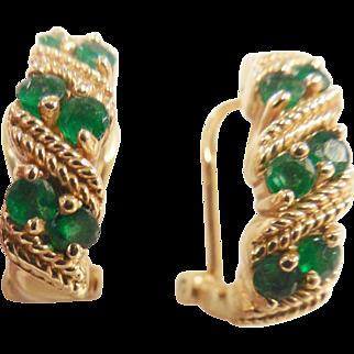 Lovely Estate 14k Emerald Earrings