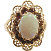 Estate 10k Opal and Garnet Ring
