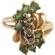 Vintage Estate Emerald and Diamond Ring