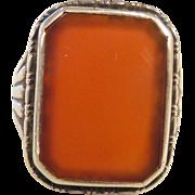 Vintage Estate 830 Silver & Carnelian Ring