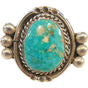 Vintage Estate Native American Sterling & Turquoise Ring