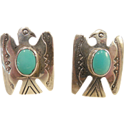 Vintage Native American Sterling/Turquoise Cuff Links