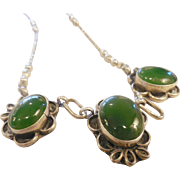 Vintage Native American Sterling & Green Onyx Necklace