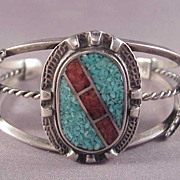 Vintage Sterling Turquoise and Coral Cuff Bracelet/Indian Style