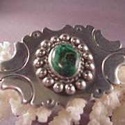 Wonderful Vintage Mexican Sterling & Malachite Pin/980