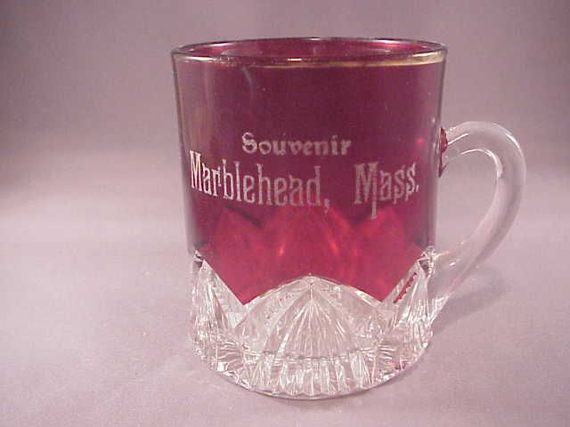 Vintage ruby flashed souvenir cup marblehead mass from for Naugatuck glass company