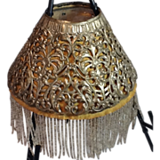 Victorian Pierced Metal Lamp Shade with Beaded Fringe Inserts