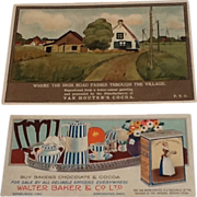 2 Vintage Cocoa Chocolate Advertising Trade Cards Baker & Van Houten's