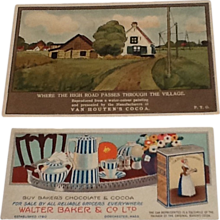 2 Cocoa Chocolate Advertising Trade Cards Baker & Van Houten's