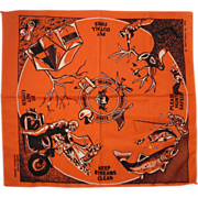 Vintage 1970 Ideal Products Handkerchief Hunting Fishing Camping Sports
