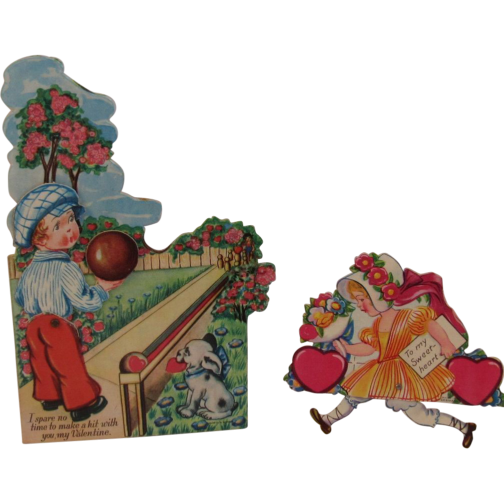 2 Vintage German Mechanical Valentines