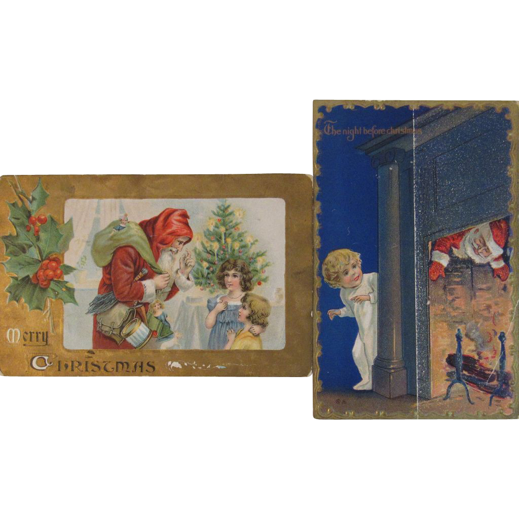 Two Victorian Santa Postcards