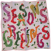 Vintage Carl Tait Signed Christmas Handkerchief Seasons Greetings Stockings