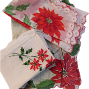 3 Vintage Christmas Poinsettia Hankies Handkerchiefs