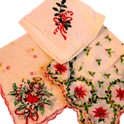 3 Vintage Christmas Hankies Handkerchiefs Angel Candy Cane & Poinsettias