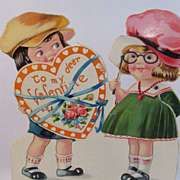 2 Vintage Oversize Valentines, Louis Katz Mechanical and Doily Overlay