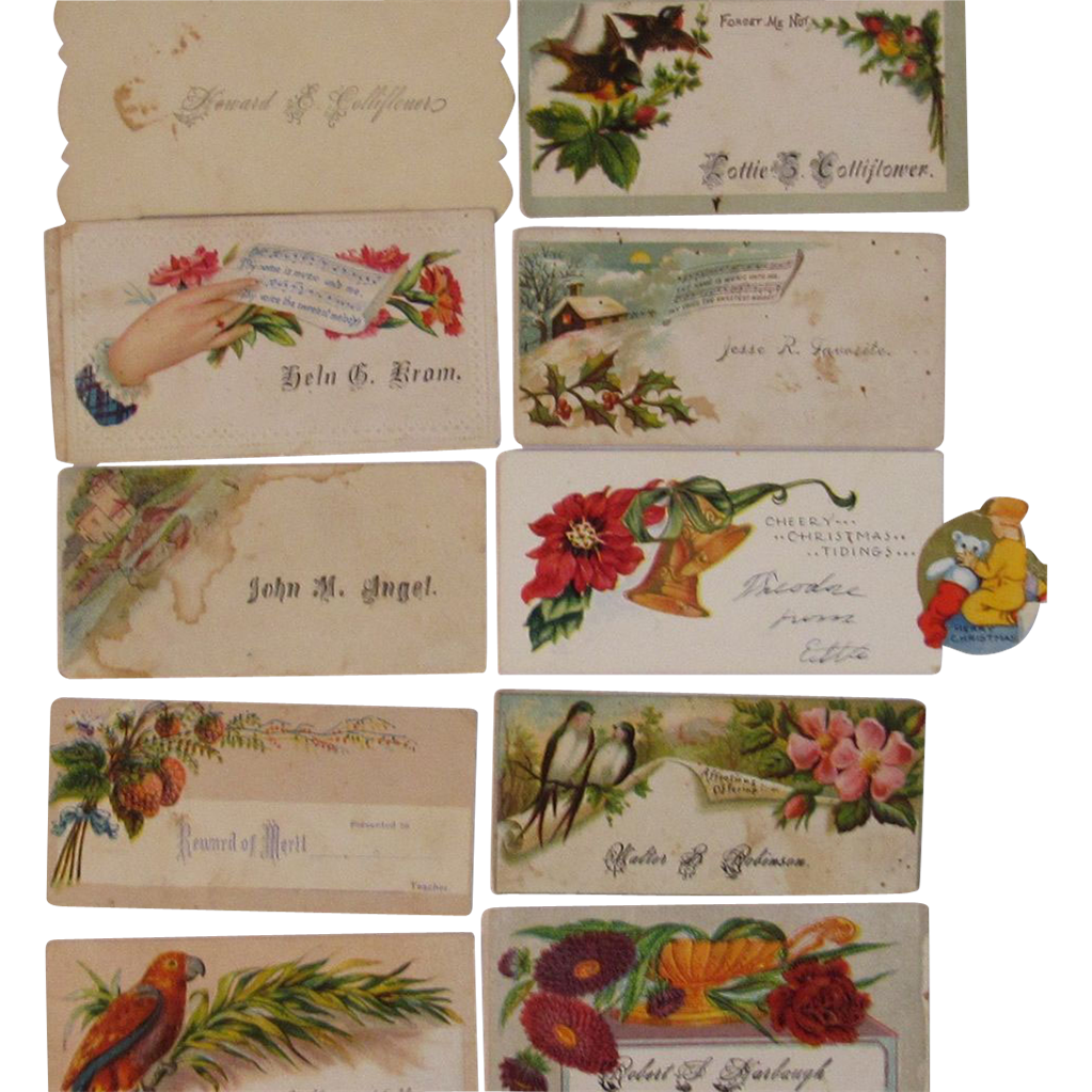 Set of 10 Old Calling Cards