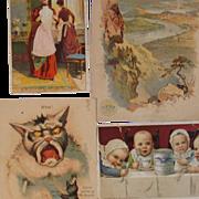 Set of 4 Vintage Advertising Trade Cards
