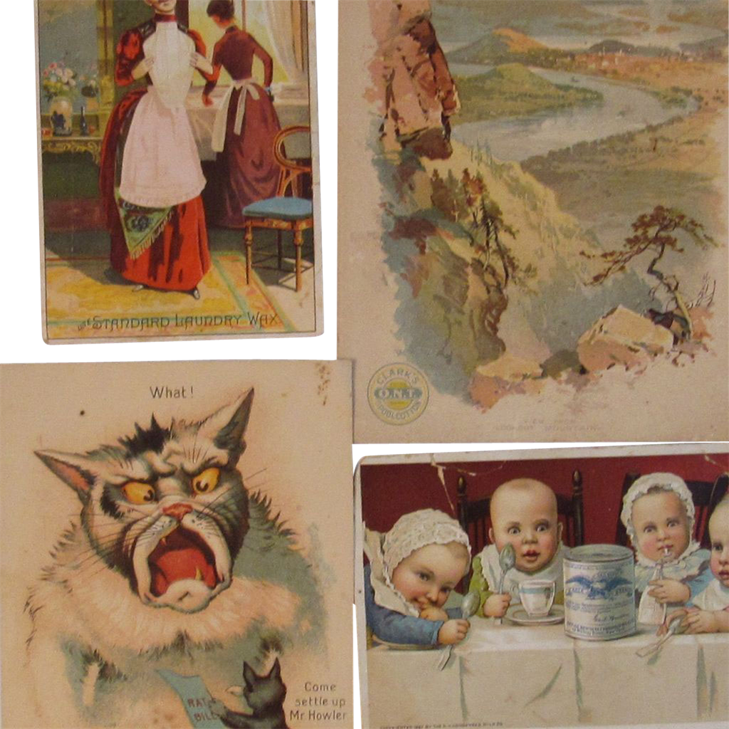 Set of 4 Vintage Advertising Trade Cards