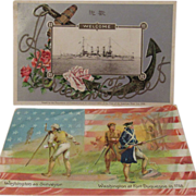 1908 Embossed 'Great White Fleet' Postcard and a Tuck 'George Washington's Birthday' No. 124 Postcard Patriotic