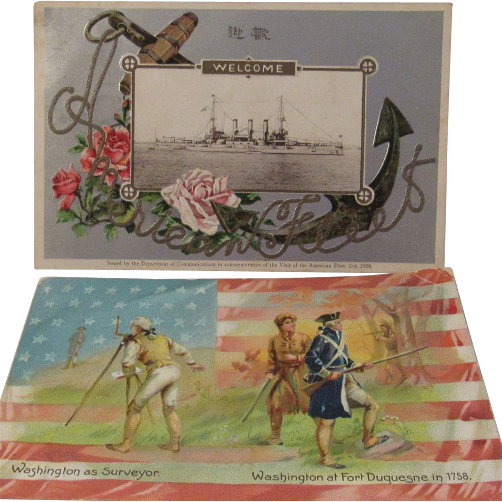 1908 Embossed 'Great White Fleet' Postcard and a Tuck 'George Washington's Birthday' No. 124 Postcard