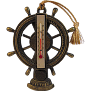 Vintage Souvenir Ship's Wheel Thermometer from Miami Beach, Florida