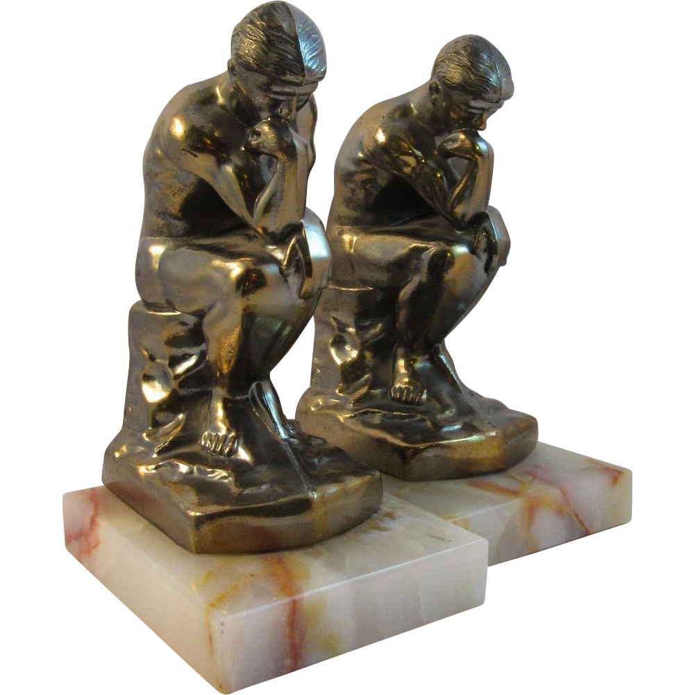 Art Deco Cast Metal Thinker Bookends on Onyx Base - Dated 1928